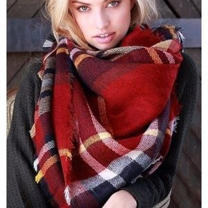 Accessories - New Red Plaid Blanket Scarf Wrap